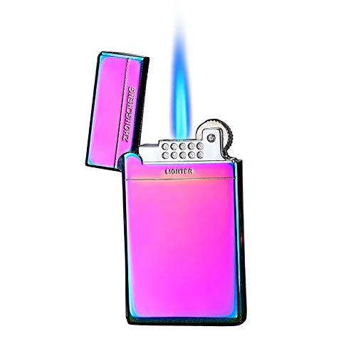 Malisseladi Antorcha Encendedor Jet Flame Recargable Butano Encendedor Rueda Encendido Encendedor A Prueba de Viento Encendedor de Bolsillo de Llama Ajustable con Caja de Regalo (Vistoso)