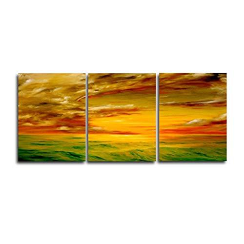 KDSFHLL 3 aufeinanderfolgende Gemälde Sonnenaufgang 3 Panel Vintage Leinwand Malerei Abstrakte Wand Kunstwerk Home Wohnzimmer Dekoration