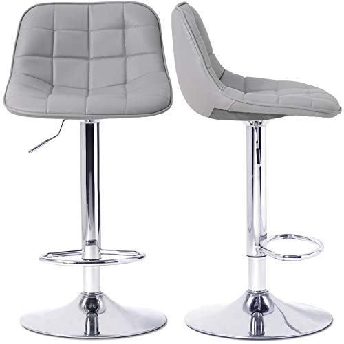 Bar Stools Barstools Set with Backrest Set of 2 Chrome Frame Adjustable Height Swivel for Breakfast Kitchen Counter Home Bar Chairs