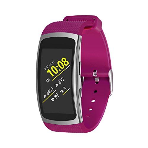 EloBeth Compatible Gear Fit 2 Pro/Gear Fit 2 Band, Smart Watch Elastomer Strap Plastic Wristband for Gear Fit 2 Pro/Gear Fit 2 SM-R360 Fitness Activity Tracker (5.9-7.5) Purple/Pink