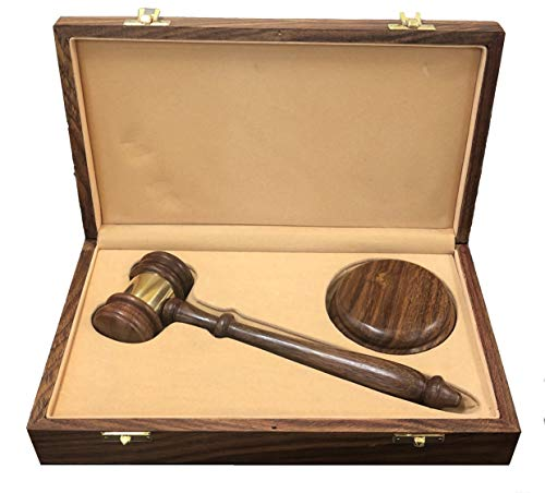 Presentation Quality Judge, Lawyer, or Organization Gavel and Sound Block in Wood Gift Box