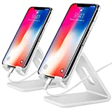 COOLOO Cell Phone Stand,2 Pack Tablets Stand Desktop Cradle Holder Dock for Smartphone E-Reader, Compatible Phone Xs Max X 8 7 6 6s Plus 5 5s, Galaxy, Charging, Universal Accessories Desk (White)
