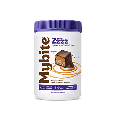 Mybite Sweet Zzzz Chocolate Supplement, 30 Bites, Melatonin and L-Theanine to Support a Restful Night's Sleep