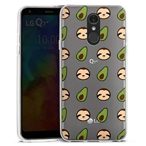 DeinDesign Silikon Hülle kompatibel mit LG Q7 Plus Hülle transparent Handyhülle Pattern Muster Avocado