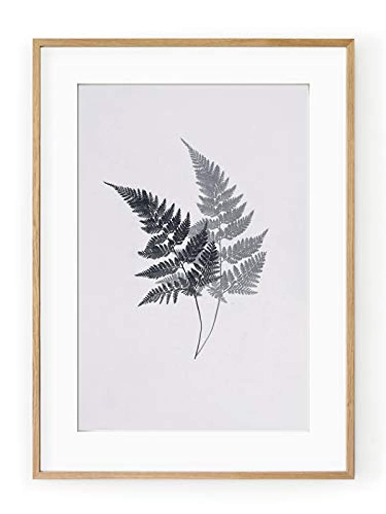 Ferns, Natural Solid Oak Frame, with Mount, Multicolored, 40x50