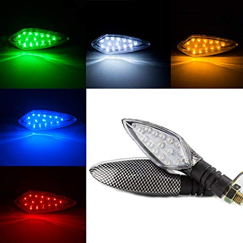SSCJ 2 Paquetes Indicadores de Motocicleta Que fluyen Luces de Intermitentes de Motocicleta Luces de Freno traseras Luces de circulación Diurna Impermeable para 12 V Motocicleta Universal,Green