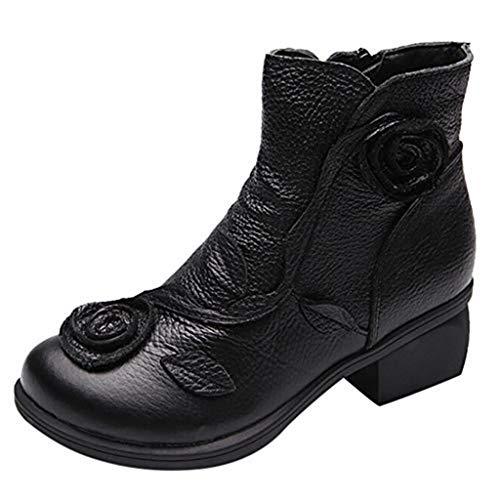 Geili Stiefeletten Damen mit Blockabsatz Kurzschaft Lederstiefel Vintage Ethnisch Handgenäht Blumen Ankle Boots Frauen Übergrößen Reißverschluss Warm Gefüttert Winterstiefel