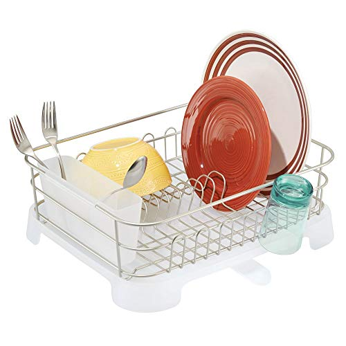 mDesign Large Kitchen Countertop, Sink Dish Drying Rack with Removable Cutlery Tray and Drainboard with Adjustable Swivel Spout - 3 Pieces, Satin Wire/Clear Frost Plastic Cutlery Caddy & Drainboard