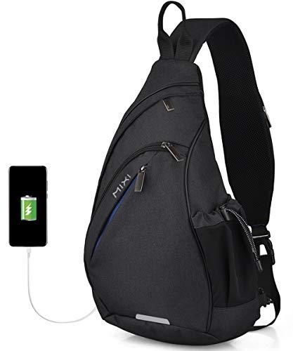 Hanke Bolso de hombro cruzado con puerto de carga USB, bolsillo en el pecho, impermeable, para hombre y mujer, 17 pulgadas, color gris oscuro, Negro , 19