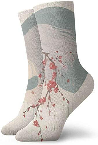 zhouyongz Lustige Socken für Mädchen mit Kirschblütenmotiv, bedruckt, Sportsocken, 30 cm lang