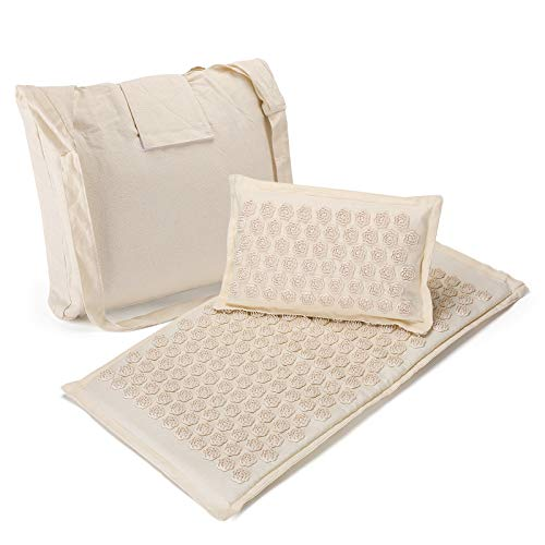 Acupressure Mat and Pillow Set Effective Remedy for Back Pain Neck Pain Relief (Cream Coloue)