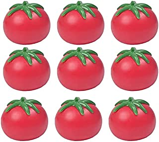 9 PCS Tomato Vent Toy Ball Stress Relief Tomato Creative Rebound Fun Toy Simulation Fruit Decoration Props Suitable for Ap...