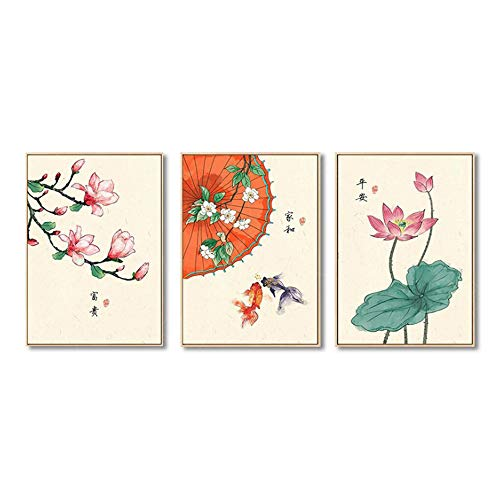 Canvas Schilderij Chinese Stijl Retro Lotus Magnolia Planten Flower Goldfish Poster en Print Home Decor Wall Art Picture 40x60cm (15,7