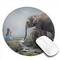 象と少女 マウスパッド 丸型 20cm 滑り止め 防水 おしゃれ 洗える ビジネス用 家庭用 ゲーム用