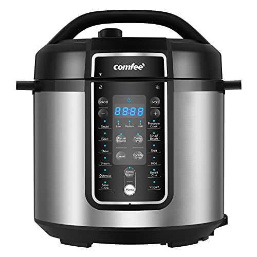 COMFEE' 6 Quart Pressure Cooker 12-in-1, One Touch Kick-Start Multi-Functional Programmable Slow Cooker, Rice Cooker, Steamer, Sauté pan, Egg Cooker, Warmer and More