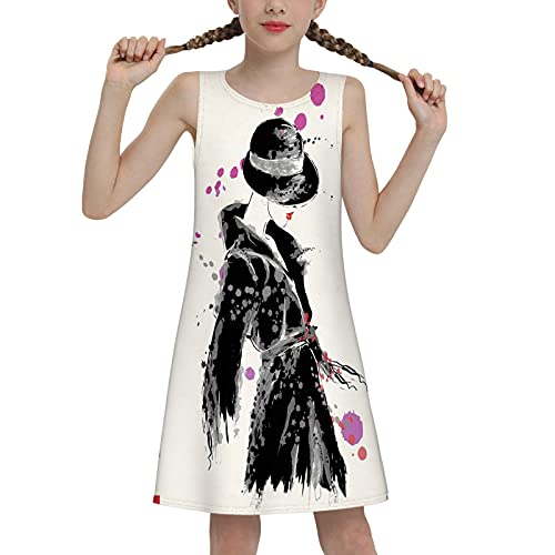Girls Sleeveless Summer Casual Swing Dresses Mermaid Dress School Party Beach Sundresses Modern Woman in a Cool Coat with Watercolor Paintbrush Style Casual Urban 2t