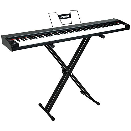 LAGRIMA LAG-620 Full Size Weighted Key Portable Digital Piano, 88 Key Electric Keyboard Piano for Beginner/Adults with X Stand, Bluetooth, Sustain Pedal, Power Supply, Music Stand,Black
