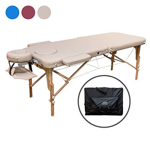 ZEN Basic III Flat Massage-Liege klappbar und höhenverstellbar – mobiler Massagetisch aus Vollholz mit verstellbarem Aluminium-Kopfteil und Kosmetik-Tisch Tasche, Farbe Creme-Beige