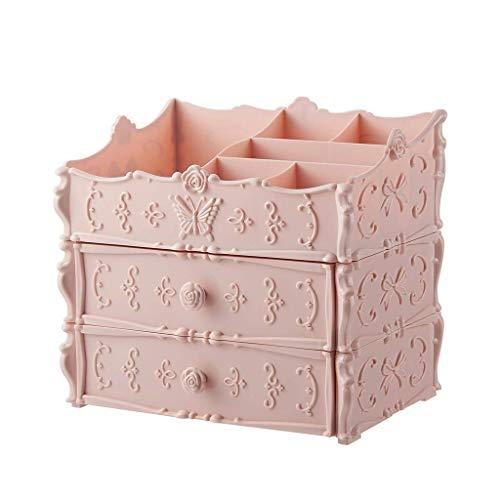 BOX Simple Plastique Cosmétique Boîte de Rangement de Bureau Type de Tiroir Rouge À Lèvres Bijoux Soins de La Peau Produits de Stockage D'Affichage Boîte (Taille: 25,5 × 17 × 23Cm),Rose,25.5 * 17 * 3