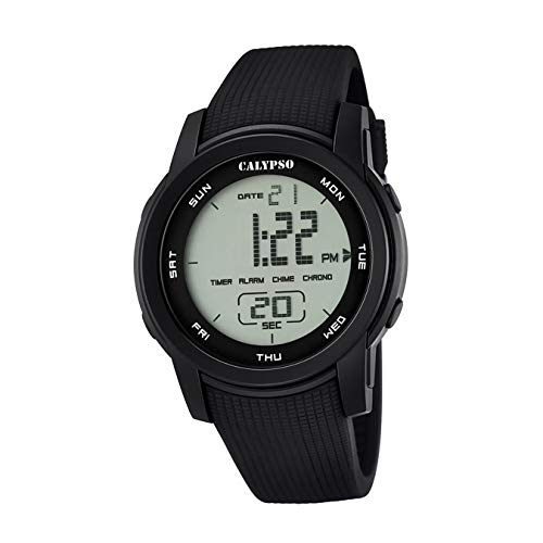 Calypso de hombre reloj de pulsera Sport Digital PU de pulsera Negro Reloj de cuarzo esfera negro uk5698/6
