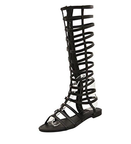LvRao Damen Gladiator Römisch Sandalen Knie Stiefel Flache Sommer Strand Schuhe (Schwarz, EU 36)