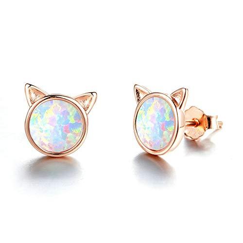 925 Sterling Silber Ohrringe Damen Ohrstecker Opal Ohrringe Katze Ohrschmuck Ohrringe für Frauen Mädchen