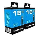 Impac 2 Paquet Cycle Tubes 18' Valve Schrader (Voiture Valve Type) - 18 X 1.75-2.25 (47-355/57-355)