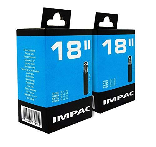 Impac 2 Paquete Ciclo Tubos 18' Válvula Schrader (Coche Tipo Válvula) - 18 X 1.75-2.25 (47-355/57-355)