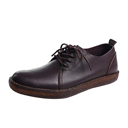 JEOSNDE Moda Ocio Oxford for Hombres Mocasines con Cordones Cuero Genuino Punta Redonda Zapatos de Vestir de Boda clásicos Formales (Color : Black, Size : 39 EU)
