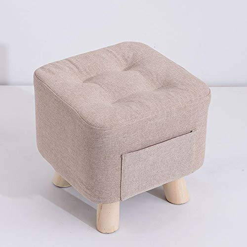 YILIAN Fabric Sofa Stool, Household Furniture, Living Room Sofa, Shoe Changing Footstool, Stylish Solid Wood Footstool (Color : Gray)