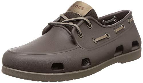 crocs mens Classic | Casual Slip on Men Boat Shoe, Espresso/Walnut, 12 US