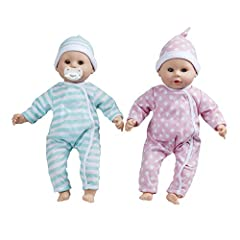 YOURS TO LOVE: It's twice the fun with twin 15-inch dolls Luke and Lucy HUGS ALL DAY: Luke and Lucy have adorable coordinating removable rompers and caps, eyes that open and close, and they can suck their thumbs or the included pacifiers. PLAY AND LE...