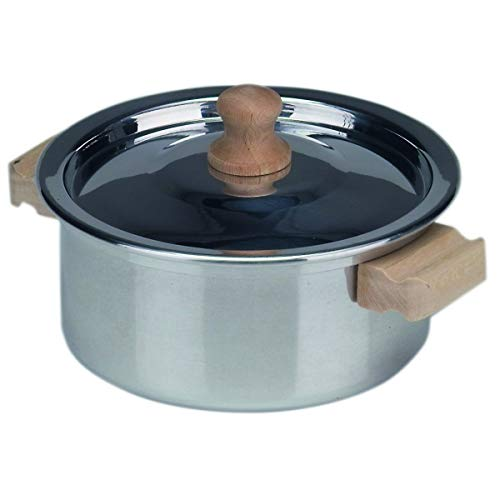 Coccinelle 530104 Anse Cocotte avec couvercle en aluminium 12 cm, Manche en Bois