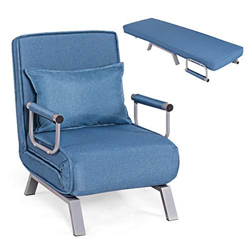 RELAX4LIFE Schlafsofa mit Bettfunktion klappbar,150 kg ertragender Schlafsessel, 2 in 1 Schlafsessel inkl. Kopfkissen, Bettsessel mit fünf Stufen verstellbare, Rückenlehne für Wohnzimmer (Blau)