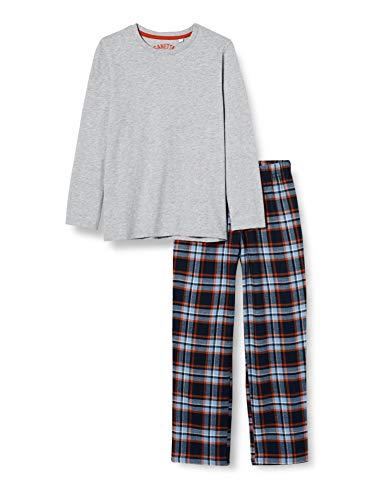 Sanetta Jungen Schlafanzug Grey Mel. Klassisch gemütlicher Pyjama mit Einer wärmenden Karierten Flanell-Hose, grau, 164