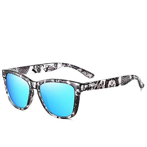WWWL Gafas de Sol Gafas de Sol de Estilo Joven de Moda Unisex Gafas de Sol de Moda Gafas de Sol polarizadas de Moda para Mujeres Gafas (Frame Color : Polarized, Lenses Color : Sky Blue Q4)
