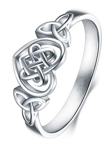 BORUO 925 Sterling Silver Ring Celtic Knot Heart High Polish Tarnish Resistant Eternity Wedding Band Stackable Ring Size 4