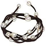 Gem Stone King 48 Inch White Cultured Freshwater Pearl on Brown Leather Wrap Bracelet/Necklace