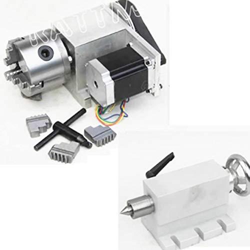 RATTMMOTOR CNC Router Axis 4 Eje Rotary K11 – 80 mm 3 Mandriles Chuck cabeza parcial con 65 mm, eje giratorio CNC 4th ejes para máquina de grabado y fresadora