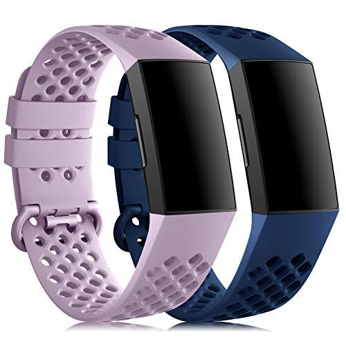RIOROO Cinturino Compatibile per Fitbit Charge 3 / Charge 4 Cinturini Uomo Donna Blu,Lavanda Viola Sport Silicone Bracciale Ricambio Accessori (nessun Tracker),S