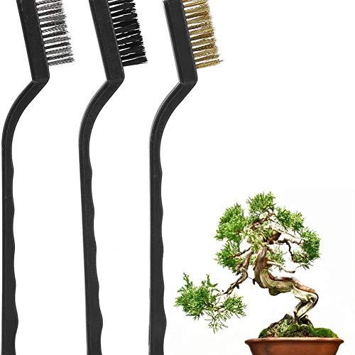 3-piece Drahtbürstenset mini staalborstel met kunststof handvat om de boomstam Burr bonsaituin Borstelreiniger schoon