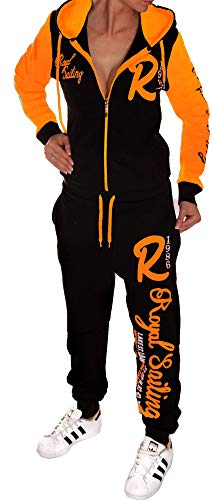 Unbekannt Jaylvis Damen Jogginganzug Trainingsanzug Sportanzug Fitnessanzug Royal Sailing A.2255 A.2255 Schwarz-Orange XXXL 50