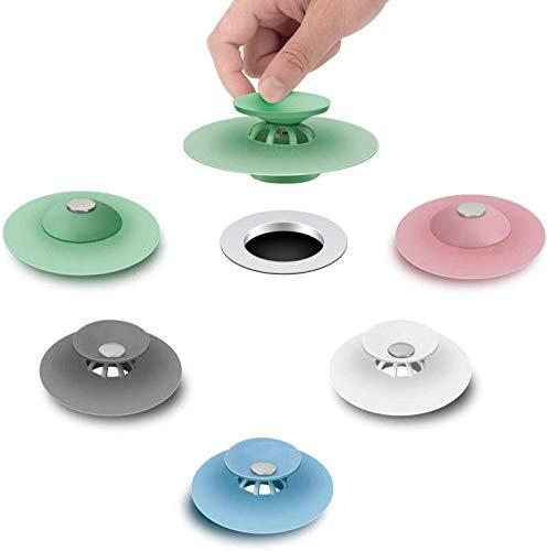FUNNY HOUSE 5 Pcs Tapón de Drenaje de Silicona,Tapón de Goma Universal Tapones de Desagüe para Cocina Baño Bañera Fregadero Lavabo Lavamanos