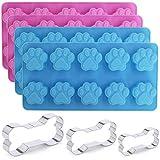 SourceTon Silikon-Form, Design: Hundepfoten, 3 Keksausstecher aus Edelstahl, verschiedene Größen, für hausgemachte Hundeknochen-Leckereien, Tierpfoten, Schokolade, Backform, 4 Packungen
