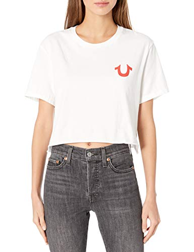 True Religion Women's Buddha Logo Puff Graphic Short Sleeve Crewneck Tee, White, Medium