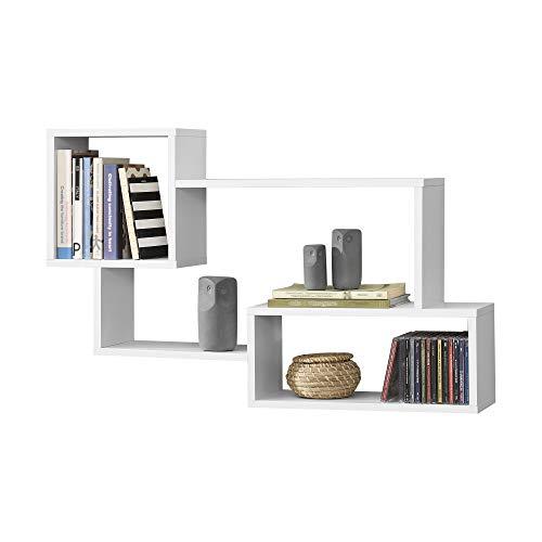 Mensola da Parete/da Muro con 3 Scomparti a Cubo/Rettangolo 87 x 18 x 54 cm Scaffale Pensile con Ripiani Portaoggetti Libreria - Bianco