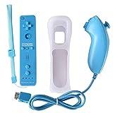 Manette de Wii et Wii U de Jeux Motion Plus Accélérateur de Jeux Télécommande Elégents pour Multijoueurs avec Housse de Protection (Bleu Clair)