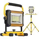 fwzj luci di inondazione ricaricabili 100w 8000lm luce da lavoro portatile a led con treppiede luce da campeggio esterna impermeabile illuminazione da cantiere livello 3 luminosità rego