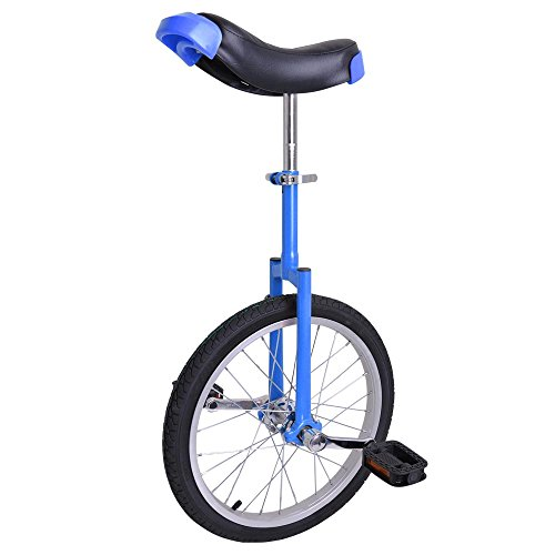 imusicat 18 Inch Unicycles for Adults Kids - 【𝐒𝐭𝐫𝐨𝐧𝐠 𝐌𝐚𝐧𝐠𝐚𝐧𝐞𝐬𝐞 𝐒𝐭𝐞𝐞𝐥 𝐅𝐫𝐚𝐦𝐞】, Unicycles, Uni Cycle, One Wheel Bike for Adults Kids Men Teens Boy Rider, Mountain Outdoor (Blue)