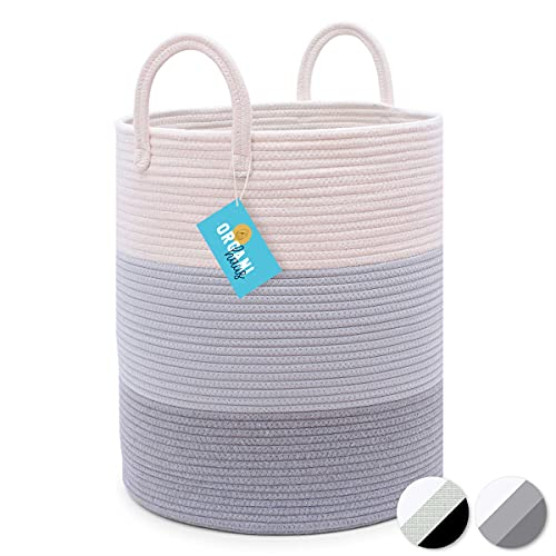 OrganiHaus Cotton Rope Basket in Grey | Tall Storage Basket with Long Handles | Decorative Blanket Basket for Living Room and Laundry